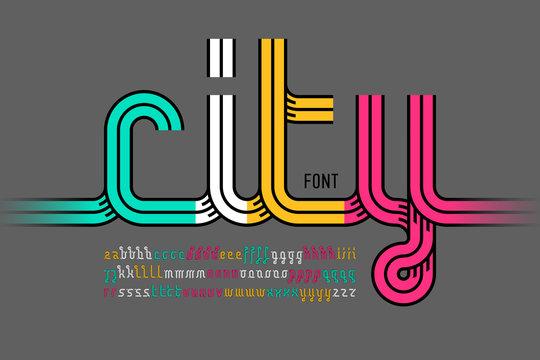 Continuous line font, colorful alphabet
