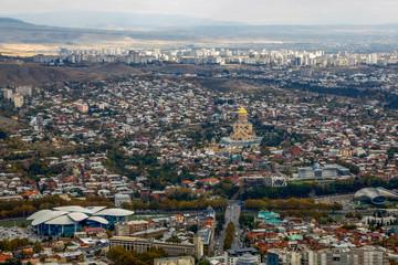 Panorama of Tbilisi, Georgia, aerial view, November 2018