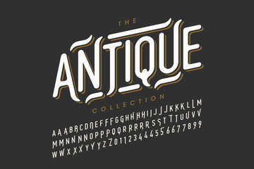 Antique style font design, vintage alphabet letters and numbers