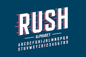 Speed style font, alphabet and numbers vector illustration Wall mural