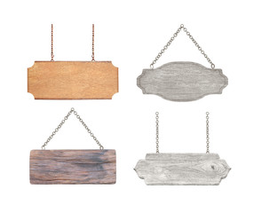 collection of empty wooden signs hanging on chain  isolated on white background.