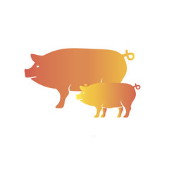 Pig icon. Colourful red, blue, green, yellow, gold pig. New Year. The year of the pig.