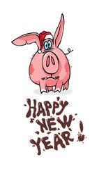 Happy new year! greeting card. pig.