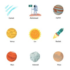 Space discovery icon set. Flat set of 9 space discovery vector icons for web design isolated on white background