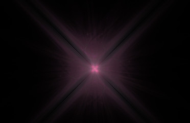 Pink cross swirl abstract fractal on black background. Fantasy fractal texture. Digital art. 3D rendering. Computer generated image.