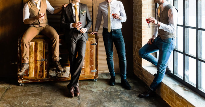Group of handsome elegant young men
