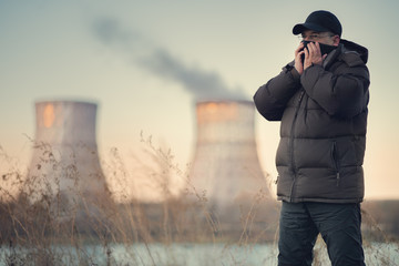 Adult man breathes polluted air