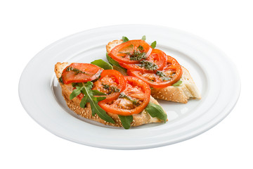 Bruschetta with tomatoes. On a white background