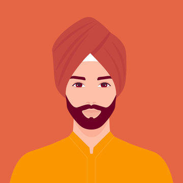 Portrait of a Sikh man. The head of a guy with a beard in a turban. Portrait in traditional costume. Vector flat illustration