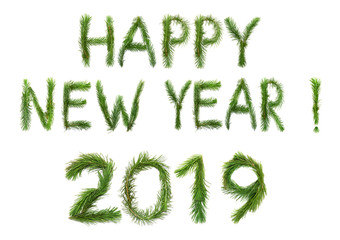 2019 New Year. Two thousand nineteen New Year. Numbers are made of a pine tree branches. Isolated on a white background