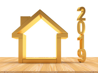 Real estate concept. Golden house icon with number 2019. 3D illustration