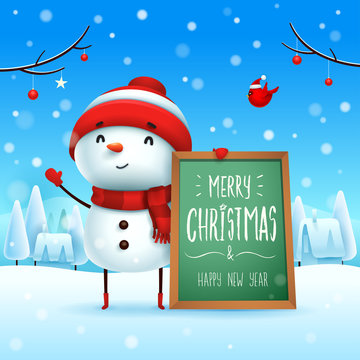 Merry Christmas! Cheerful snowman with message board in Christmas snow scene winter landscape.