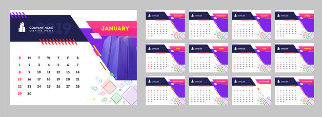 Yearly calendar design, set of 12 months desk planner with abstract pattern.