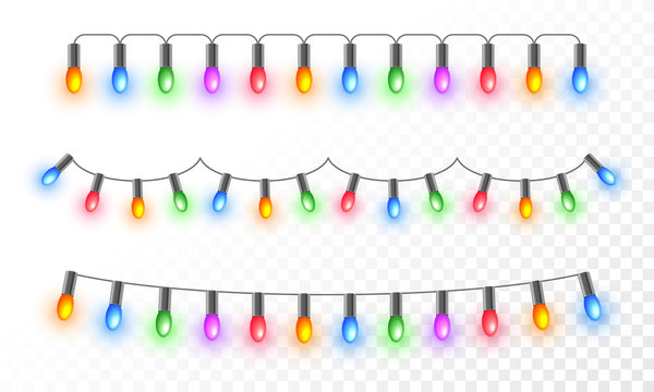Colorful illuminated lighting garlands on png background for festival celebration concept.