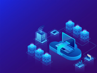 Data management concept based isometric design, 3d illustration of web servers with cloud server connected to laptop on shiny blue background.