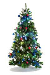 Festive Christmas tree decorated ,Beautiful new year background, isolated on white