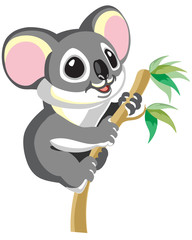 Cute happy koala hangs on a branch. Cartoon vector illustration for baby and little kid