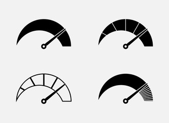 Set of abstract symbols of speed, scale and arrow