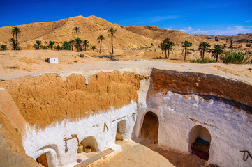 View of traditional berber bedouin house in Sahara desert in Tunisia
