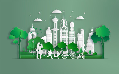 Family enjoy fresh air in the park, kids playing football, eco green city, save the planet and energy concept, flat-style vector illustration.