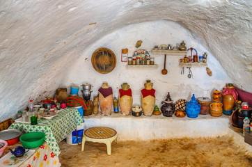 Interior of bedoin berber house in Sahara desert, Tunisia, North Africa