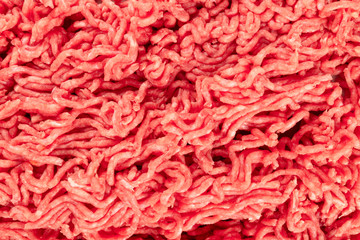 Photo sur Plexiglas Viande An overhead photo of minced meat texture