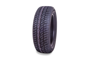 Brand new winter tire isolated on white