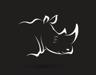 Vector of rhino head on black background. Wild Animals. Easy editable layered vector illustration.