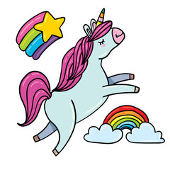 Cute outlined illustrations set of flying unicorn with rainbow hairs around shining star, rainbow and clouds in sky, beautiful magic unicorn horse head doodle style. isolated white background
