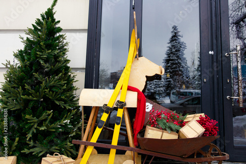 Christmas Decoration With Sleigh Wooden Deer Yellow Skiing Gift