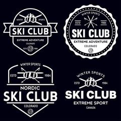 Vintage ski or winter sports logos, badges, emblems, design elements. Vector illustration. Monochrome Graphic Art.