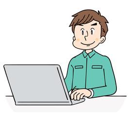 作業着の男性 パソコン