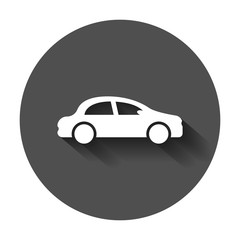 Car icon in flat style. Automobile car vector illustration with long shadow. Auto business concept.