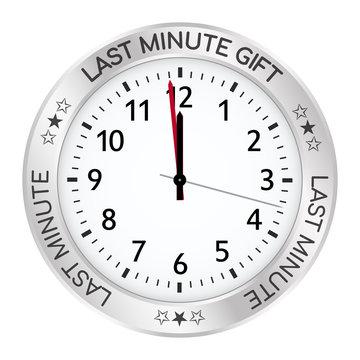 Silver Clock. Last Minute Gift One Minute Before Twelve