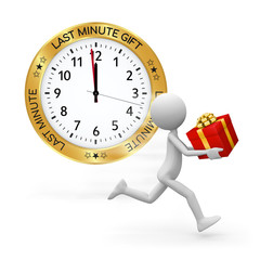 Last Minute Gift Ideas - Clock, Gift and Deliveryman