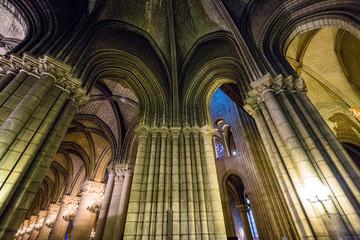 Inside of the Notre Dame de Paris Cathedral, France.