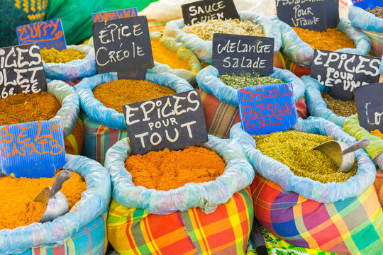 Various spices on a food market in Sainte-Anne, Grande-Terre, Guadeloupe