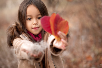 little girl playing with autumn fallen leaves