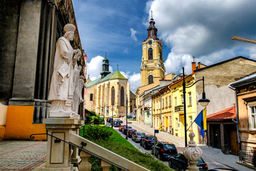 Fototapeta  Roman Catholic cathedral, the main church of the Archdiocese of Przemysl, located at the Cathedral Square in the Old Town. Przemysl, Poland. 29-07-2016