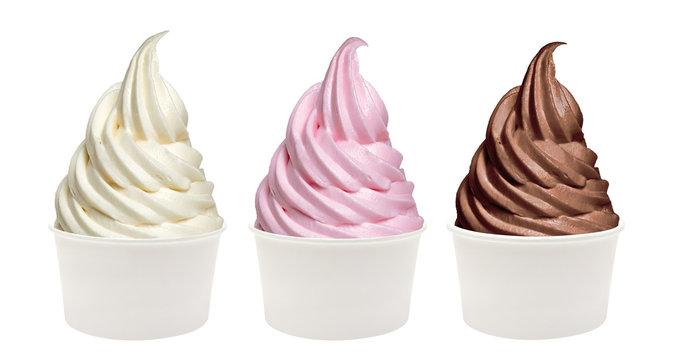 Strawberry, chocolate, vanilla soft ice cream or frozen yogurt in bowl isolated on white background