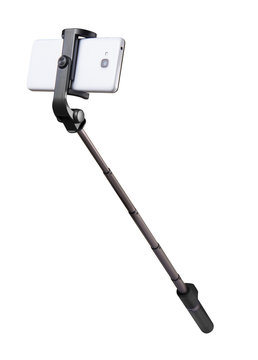 Selfie stick monopod and cellphone isolated on white with clipping path