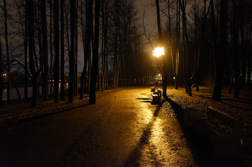 Dark wet path in the park. A lantern shines in the distance.