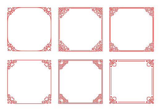 Vector set of square red frames with hearts, flourishes, curls in vintage art deco style