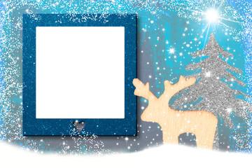 Christmas photo frame card Santa reindeer.