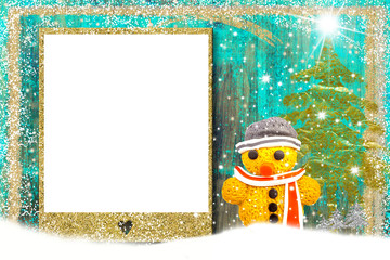 Christmas photo frame card, snowman.