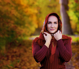 Woman in Autumn  - Beauty Fashion Model Girl . Laughing autumn