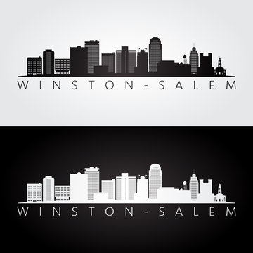 Winston–Salem, USA skyline and landmarks silhouette, black and white design, vector illustration.