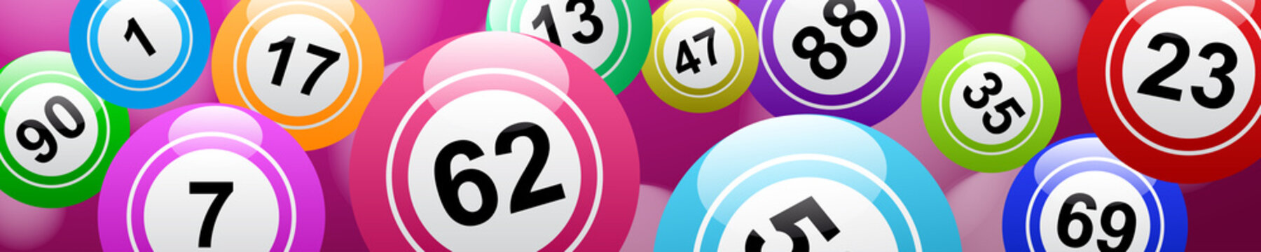 Bingo lottery, header background vector design, lucky balls and numbers of lotto
