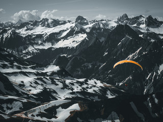 Paragliding over alps