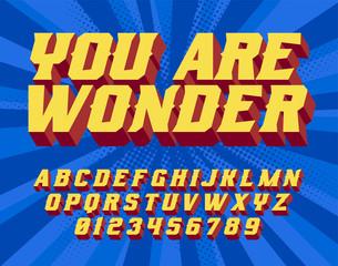 You are wonder Super Hero 3D vintage letters